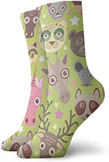 N / A, Striped Leopard Flower - Calcetines Crew para hombre, mujer, niños, trekking, Performance, exterior, 30 cm