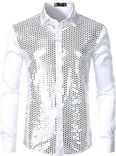 Men's Disco Shiny Sequin Design Silk Like Satin Dress Shirts for Party