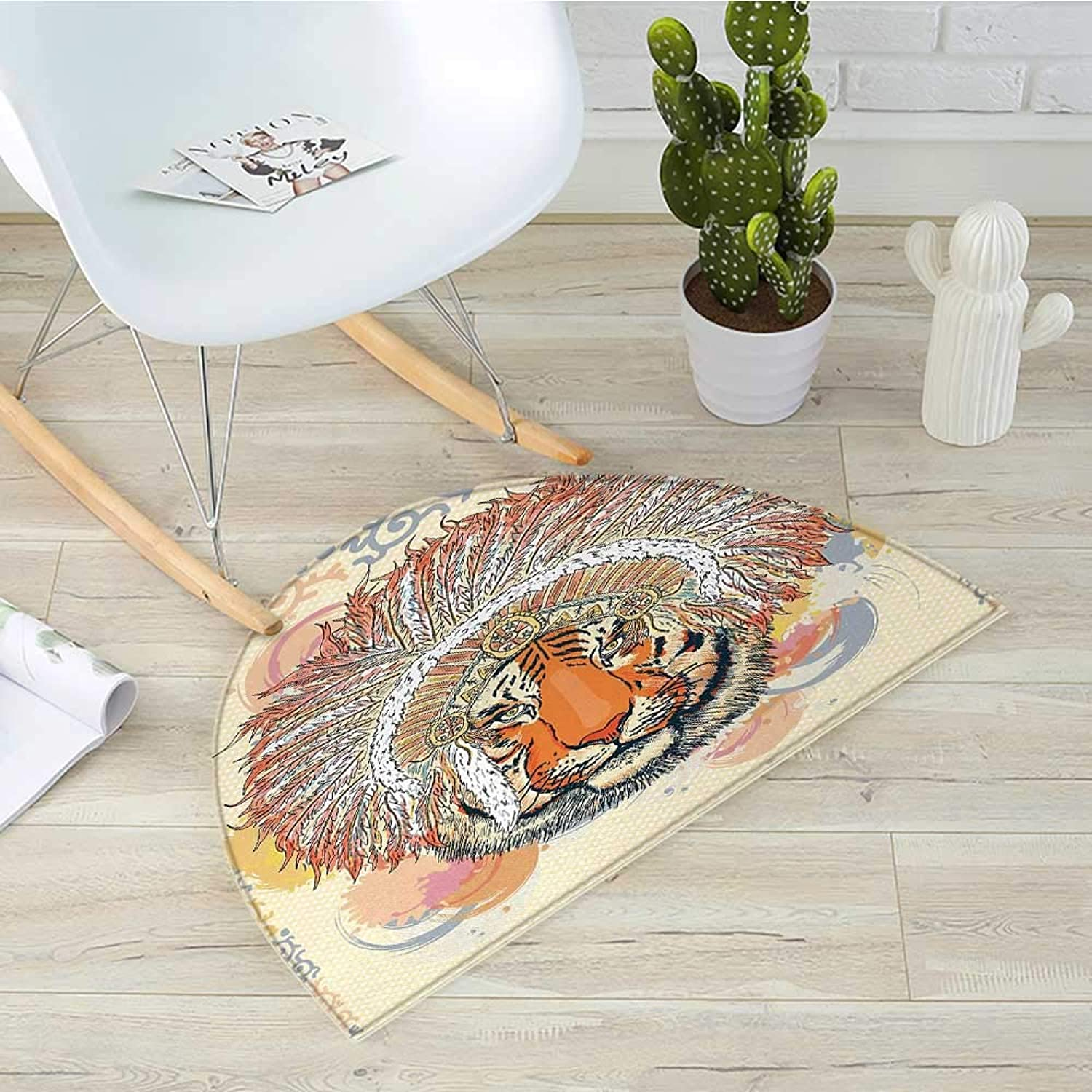 Tribal Semicircular CushionAfrican Safari Tiger Portrait with Native American Chef Feathers Bohemian Design Entry Door Mat H 31.5  xD 47.2  orange Peach