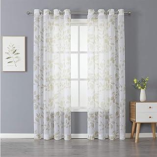 Haperlare Leaf Sheer Curtains for Living Room 95 inch Long Geometric Leaves Floral..