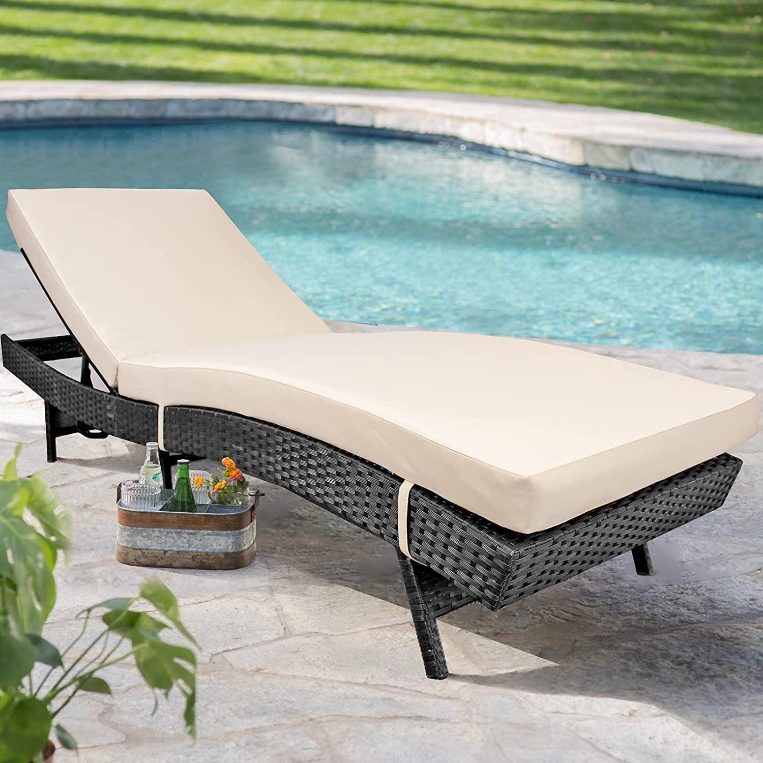 Patio Chaise Lounge 2021 new Outdoor Black Por Outstanding Rattan Chair Wicker