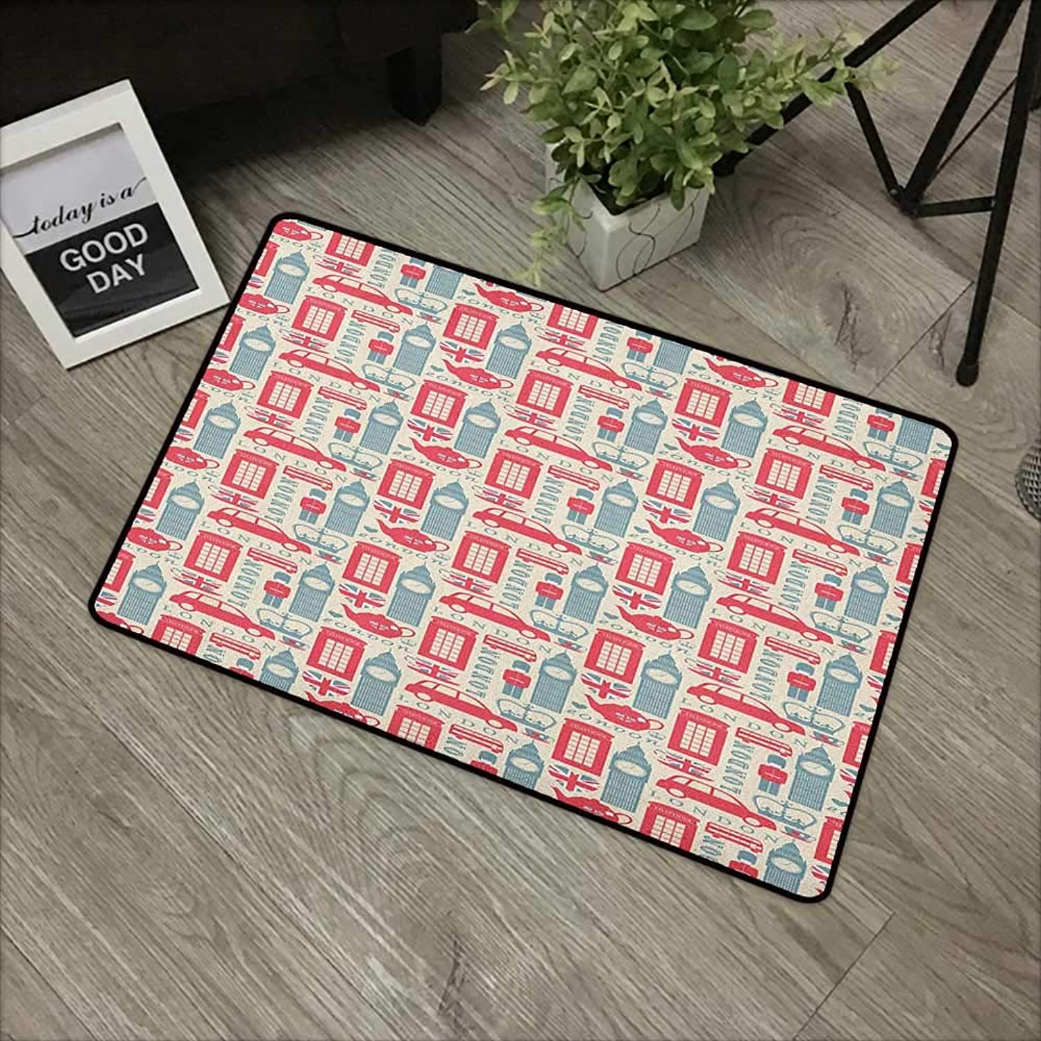 Pad W35 x L59 INCH London,Popular British Culture Elements Retro colors Flag Patterned Hearts, Dark Coral blueegrey Cream Non-Slip, with Non-Slip Backing,Non-Slip Door Mat Carpet