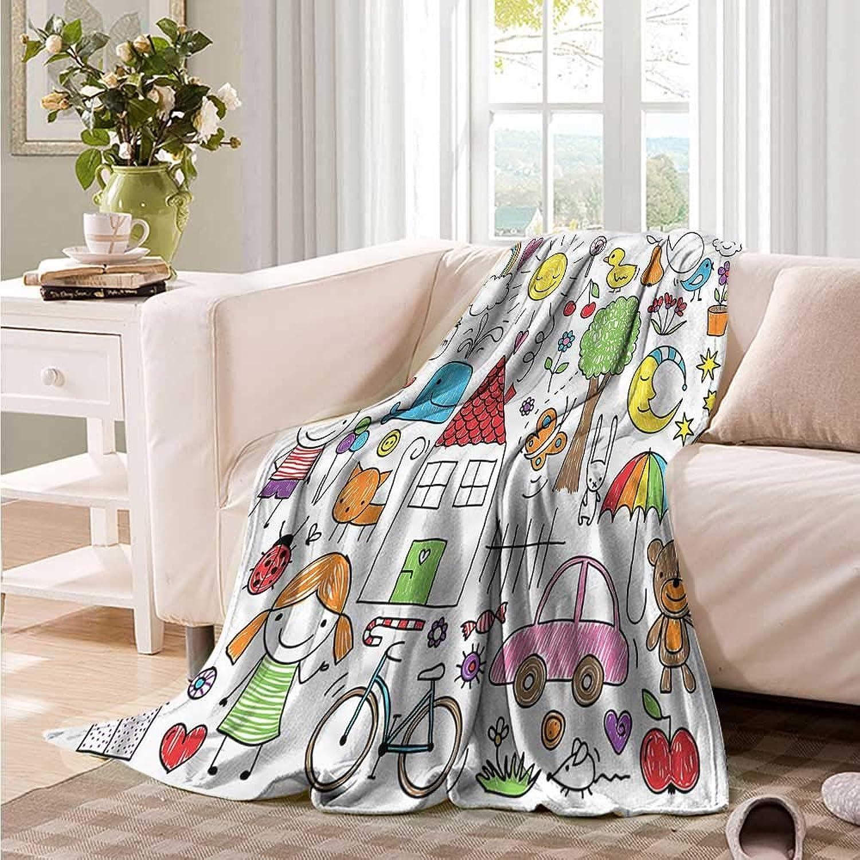 Oncegod Comfort Blanket Doodle House Girl and Boy Bear Portable Car Travel Cover Blanket 60  W x 51  L