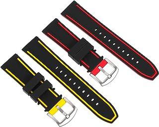 PRETYZOOM 2 PCS Vigilanza del Silicone con Bande di Cinturini per Orologi in Acciaio Inox Spazzolato A Sgancio Rapido