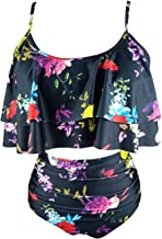 F-Tempt Two Piece Swimsuits for Women Ruched Flounce Crop Top with High Waisted Modest Bottoms Bikini Set Swimwear(FBA)
