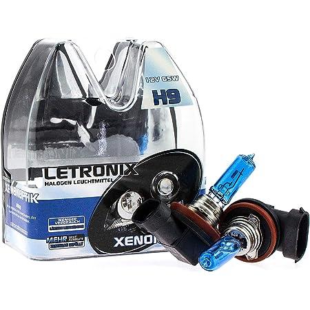 Letronix Halogen Auto Lampen H9 12v 8500k Kalt Weiß Xenon Optik Gas Ultra White Look Birnen Lampe Abblendlicht Nebelscheinwerfer Fernlicht Kurvenlicht Zulassung E Prüfzeichen Led Optik H9 65w Auto