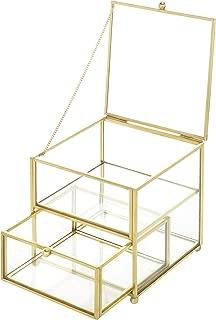 MyGift 2-Compartment Antique Brass & Glass Jewelry Box Organizer