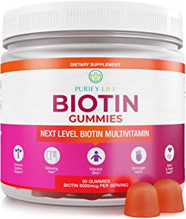 Anti Aging Biotin Gummies for Hair Growth, Skin, and Stronger Nails |Bulk - 90 Gummies| Pectin-Based Multivitamin Suppleme...