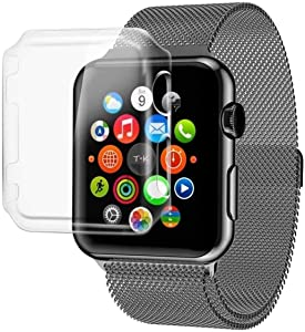 Josi Minea x3 Pcs Protective Snap-On Case with Built-in iWatch 3 & 2 Screen Protector - Shockproof & Anti-Scratch [ PC Hard Clear ] Cover Compatible with Apple Watch Series 3 & 2 [ 42mm - 3 Pack ]