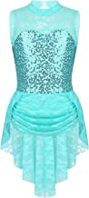Freebily Girls Sleeveless Lace Sequined Ballet Leotard Skirt Figure Ice Skating Dress Baton Twirling Competition Costume