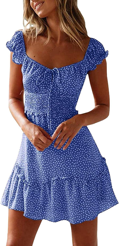 Women's Summer Dress Sleeveless Ruffle Sleeve Square Collar Mini Dress Vintage Floral Loose Fit Flowy Pleated Dress