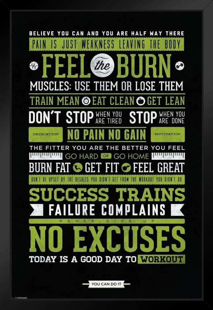 Pyramid America Workout Posters for Max 85% OFF Home Gym The Large special price Burn Feel Motiv