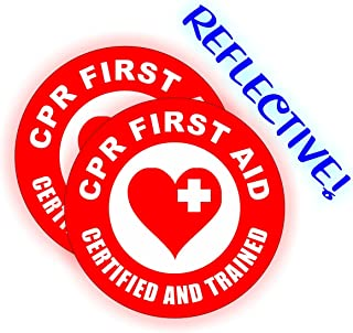 (2) REFLECTIVE - CPR FIRST AID Certified Hard Hat Stickers   EMT AED Helmet Decals   Trained Labels Rescue Firefighter Paramedic Nurse RN