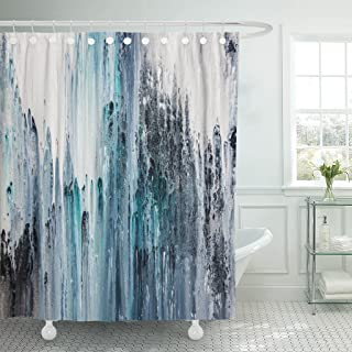 TOMPOP Shower Curtain Colorful Blue and White Abstract Painting on Canvas Navy Waterproof Polyester Fabric 72 x 72 Inches Set with Hooks