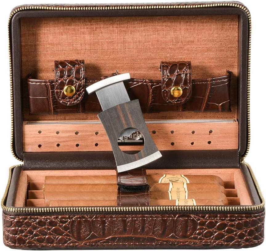 Volenx Popular products Portable Import Travel Leather Cigar Ci Humidor with Case