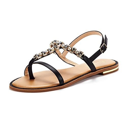 454d7a23a4eddc DREAM PAIRS SPPARKLY Women s Elastic Strappy String Thong Ankle Strap  Summer Gladiator Sandals