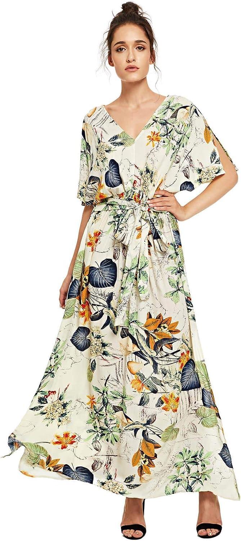 Milumia Women's Boho Tie Waist Split Vintage Floral Print Party Long Maxi Dress