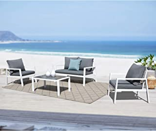 Soleil Jardin 4-Piece Outdoor Patio Sectional Furniture Set, Aluminum Conversation Sofa Set with Removable Cushions, Tempered Glass Top Coffee Table