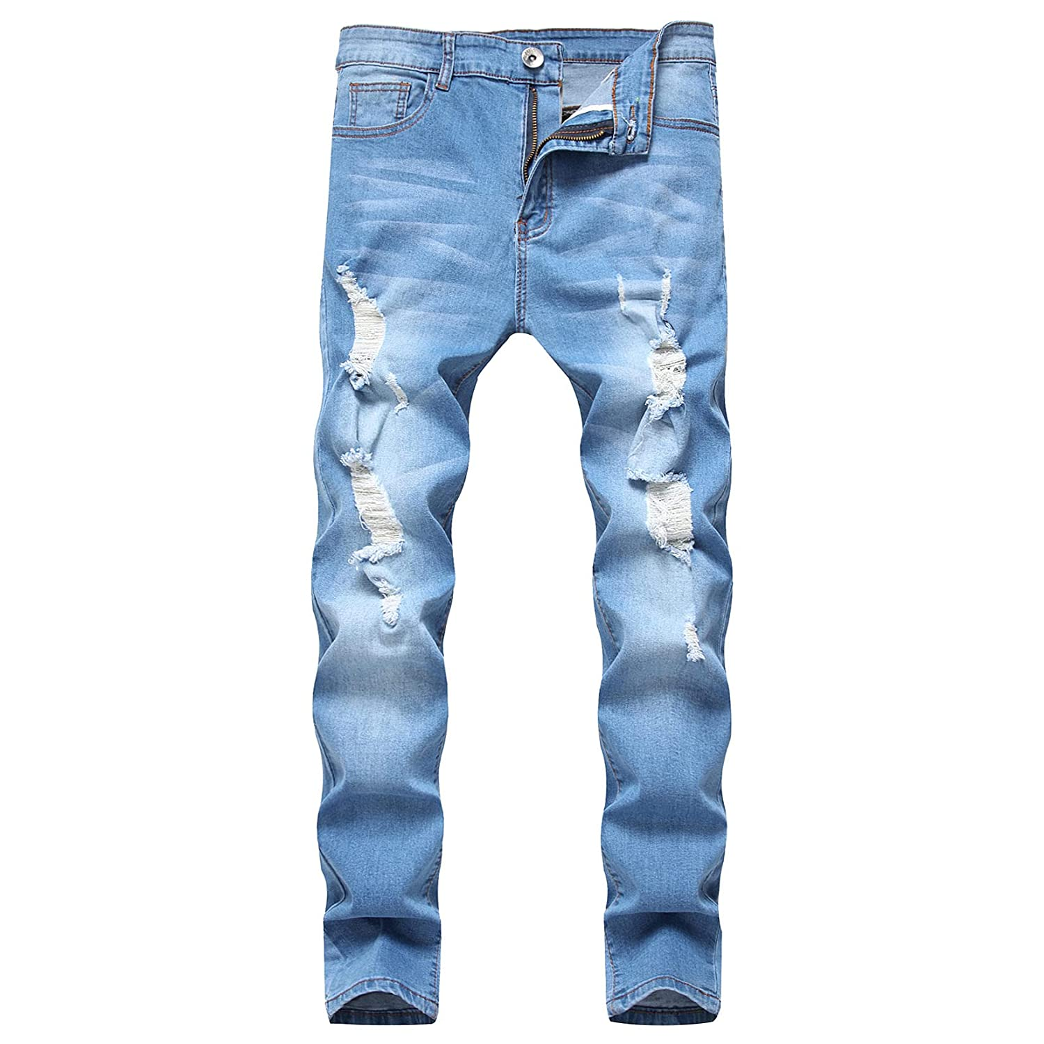 Ripped NEW Jeans for Year-end annual account Men Mens Destroyed Distressed Stretch Fit Slim