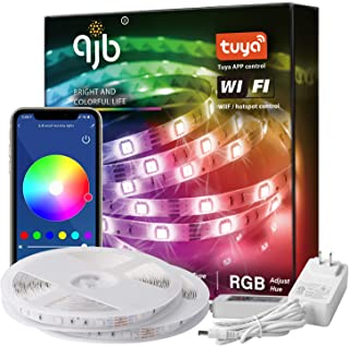 QJB 65.6ft Smart WiFi LED Strip Lights, Works with Alexa Google Assistant, with 40 Key Remote Control 16 Million Colors, Music Sync Rope Lights for Bedroom, Kitchen, Bed, with ETL Listed Adapter