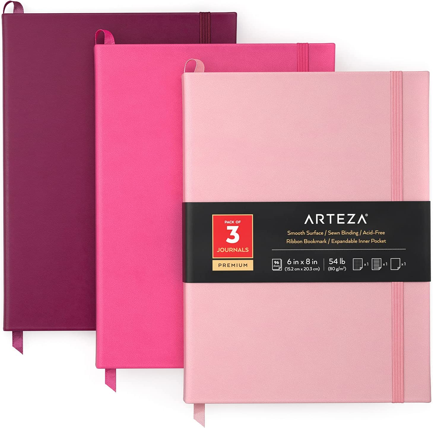 Arteza Journal Notebooks Pack of 3 6 Ranking Max 67% OFF TOP2 8 Sheets x inch 96 Ligh