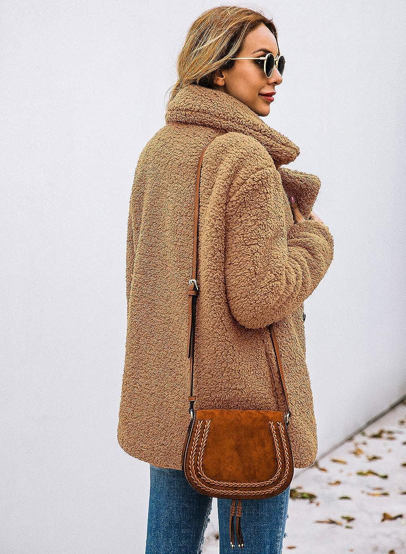 ECOWISH Damen Casual Mantel Faux Für Revers Lange Ärmel Outwear Vordere Leistentaschen Zweireihig Coat Kamel