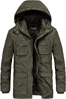 JYG Men's Winter Thicken Coat Casual Military Parka Jacket with Removable Hood