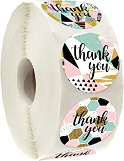 Geometric Modern Thank You Stickers, Thank You Stickers for Small Business, 6 Different Designs, 1.4 Inche, 500 Adhesive L...