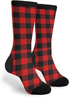 Women's Men's Fun Novelty Crazy Crew Socks Red Black Buffalo Check Plaid Pattern Dress Socks
