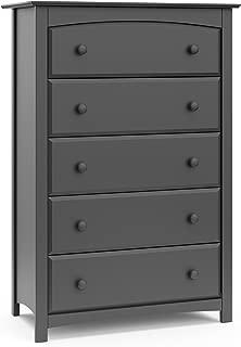 Stork Craft Kenton 5 Drawer Universal Dresser, Gray