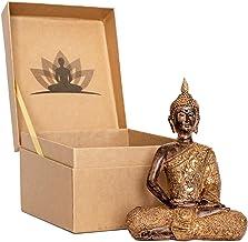 Thai Meditation Buddha Statue Small 8 Inch | Premium in Gift Box - Buddha Statues for Home. Rustic Bronze Look Buddha Stat...