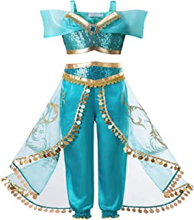 Girls Princess Dress Up Costumes Halloween Party Fancy Dress with Wig