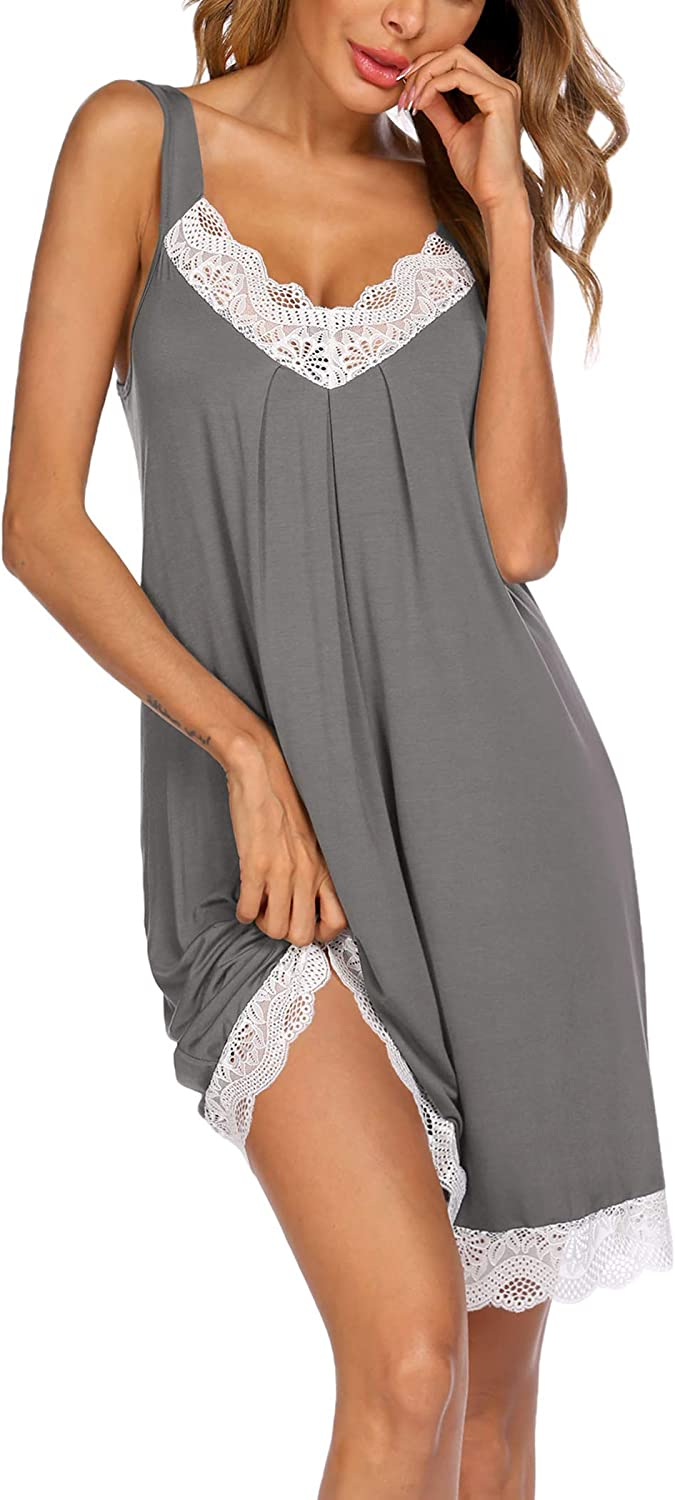 VOOMALL Sexy Nightgown for Women Chemise Sleepwear Full Slips Nightdress Cami Nightgown