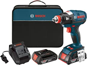 Bosch IDH182-02 Cordless Impact Driver - 18-Volt Lithium Ion Brushless Tool Kit with (2) 2.0Ah Lithium Ion Batteries, Charger and Carrying Case