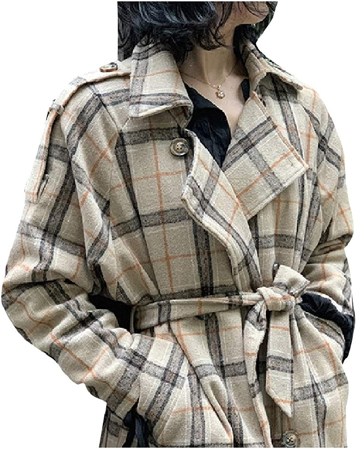Tootca Women British Style Classics DoubleBreasted Trench Plaid Pea Coat