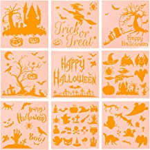 Coitak 9 Pieces Halloween Stencils Plastic Drawing Templates Theme Painting Template with Pumpkin, Bat, Ghost, Owl, Hat (6 x 6inch)