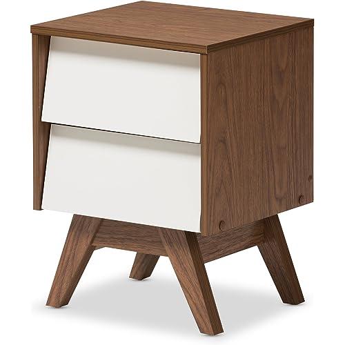 Baxton Studio Nightstands 2 Drawer Storage Nightstand White Walnut Brown Furniture Decor