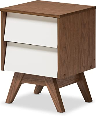 Baxton Studio Nightstands, 2-Drawer Storage Nightstand, White/Walnut Brown