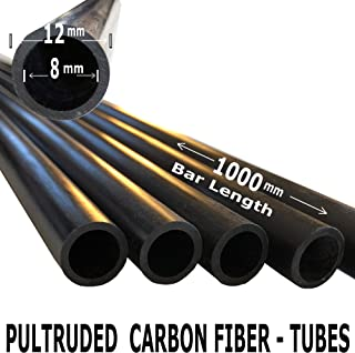 (2) Pieces - 12mm x 8mm x 1000mm Carbon Fiber Tube - Pultruded Round Tube. Super High Strength for RC Hobbies, Drones, Special Projects