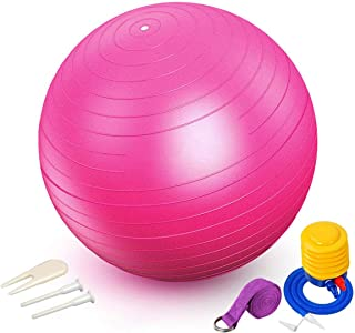 Professional Exercise, Stability and Yoga Ball for Fitness, Balance & Gym Workouts- Anti Burst - Quick Pump Included 75cm ...
