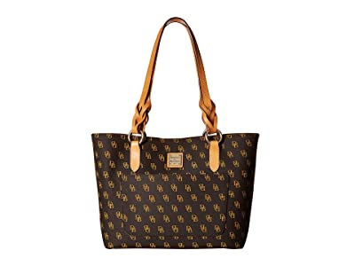 Dooney & Bourke Blakely Small Tammy Tote (Brown Tmoro/Btrsctch Trim) Tote Handbags