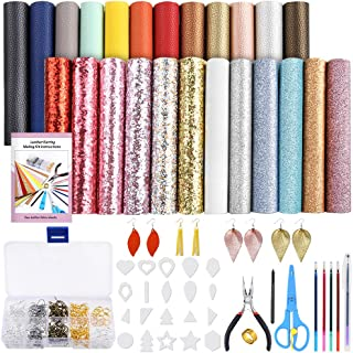 PP OPOUNT 24 Pieces Leather Earring Making Kit Include Instructions, Templates, 4 Kinds of Faux Leather Sheets and Tools f...