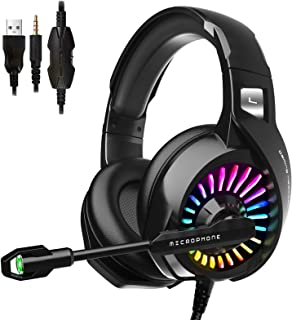 ZIUMIER Gaming Headset with Microphone, PS4 Headset Xbox One Headset with RGB Light, Wired PC Headset with 7.1 Stereo Surr...