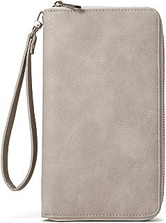 CLUCI Grand portefeuille en cuir pour femme avec 15 compartiments pour cartes, Gris 3. (Gris) - 1760264031