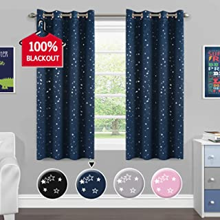 Full Blackout Curtains for Bedroom - Thermal Insulated Nursery Essential Starry Night Sleep-Enhancing Ring Top Drape Primitive Navy Stars Window Treatment for Kid's Room (2 Panels, 52 x 63 Inch)
