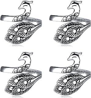 Jodsen Boucle de Crochet à Tricoter,Paquet de 4 Crochets de Crochet réglables à Doigt Ouvert Paon,Guide de Fil Porte-Doigt...