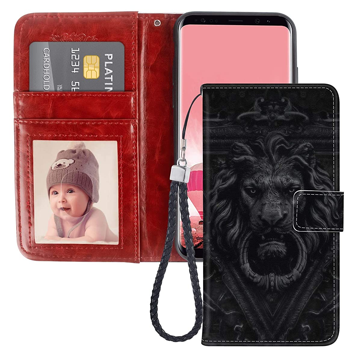 SITUOLI Lion Door Handle Samsung Galaxy S8 Wallet Case Wrist Strap Standable Kickstand PU Leather Card Holder Phone Case for Samsung Galaxy S8 jyi255963080822