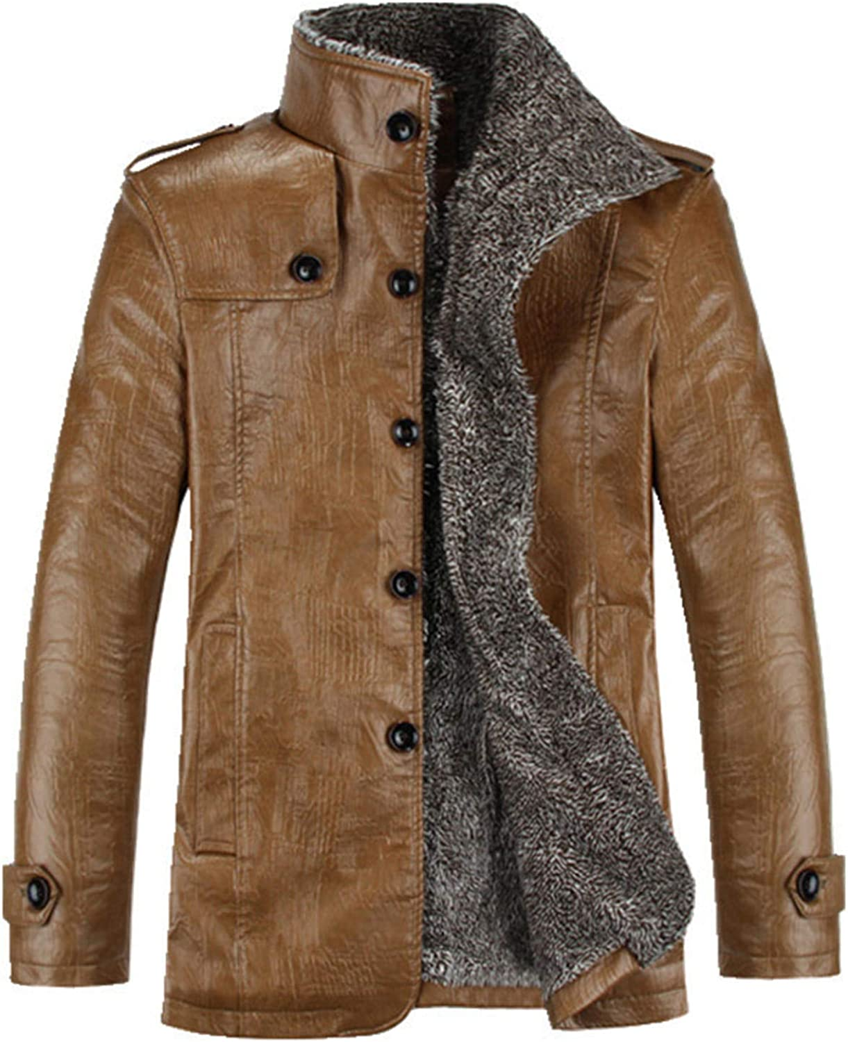 Soluo Men's Hardy Bane Knight Rises Fur Shearling Pea Coat Distressed Brown Trench Leather Jacket Coat (Khaki,4X-Large)