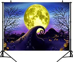 CapiSco 7X5FT Halloween Backdrop Background Nightmare Before Christmas Themed Backdrop for Halloween Full Moon Pumpkin Theme Birthday Baby Shower Backdrop Photo Backdrop SCO107A