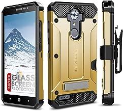 ZTE MAX XL Case, Evocel [Explorer Series Pro] Dual Layer Credit Card Case with Glass Screen Protector & Magnetic Kickstand for ZTE Blade Max 3/ ZTE Blue Max/ZTE N9560/ ZTE Z986/ ZTE N986, Gold